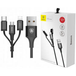 KABEL BASEUSL 3W1 MICRO USB LIGHTNING IPHONE TYP C