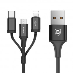 KABEL BASEUSL 3W1 MICRO USB LIGHTNING IPHONE TYP C