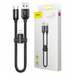 KABEL BASEUS 2w1 U-Shaped USB-C + Lightning 23CM