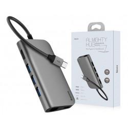 HUB BASEUS 8w1 USB-C PD do 3x USB 3.0 HDMI RJ45 SD