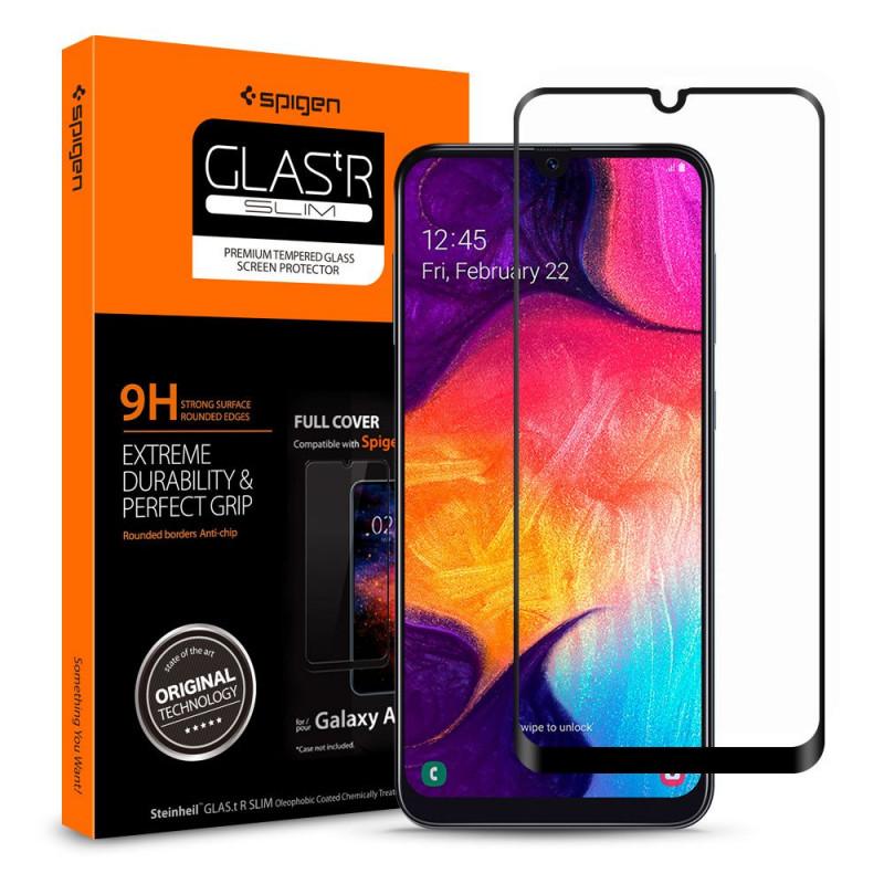 SZKŁO 9H SPIGEN FULL COVER Samsung Galaxy A50