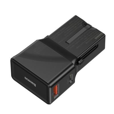 Baseus Ładowarka sieciowa EU/US/UK USB+USB-C 18W